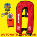 BURKE RED AUTOMATIC MANUAL INFLATABLE LIFE JACKET and WEAR IT WHISTLE (PFD992)